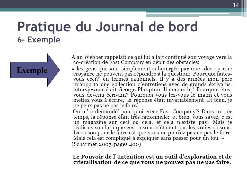 Pratique du Journal de bord 6- Exemple