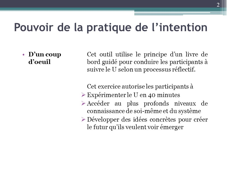 Pouvoir de la pratique de l'intention