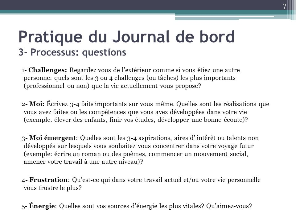 Pratique du Journal de bord 3- Processus: questions