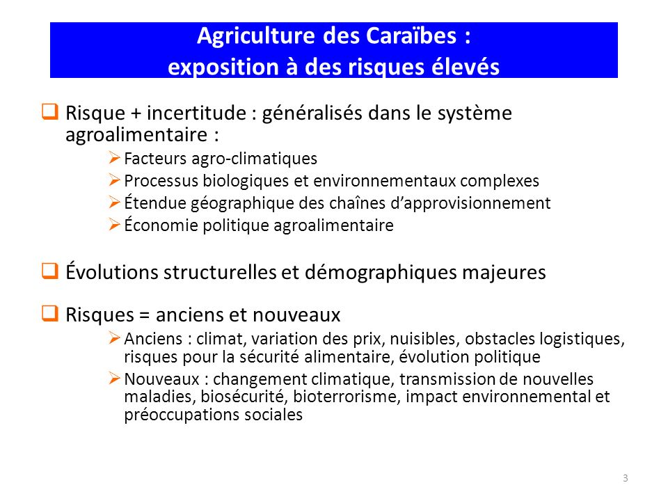 Agriculture des Caraïbes : exposition à des risques élevés