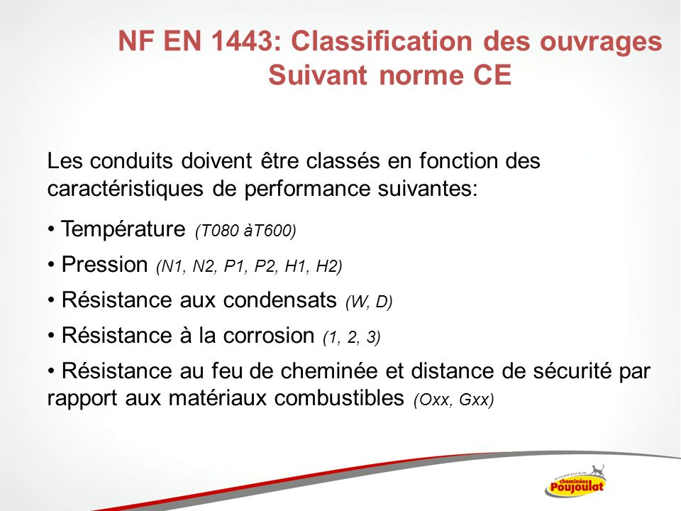NF EN 1443: Classification des ouvrages