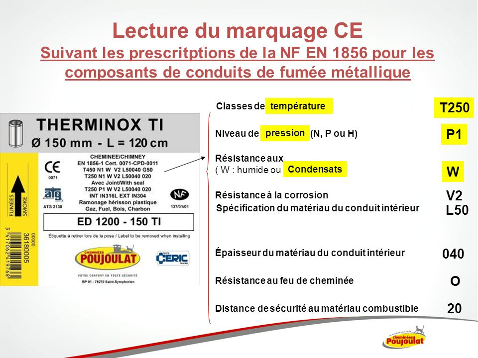 Lecture du marquage CE Suivant les prescritptions de la NF EN 1856 pour les composants de conduits de fumée métallique.