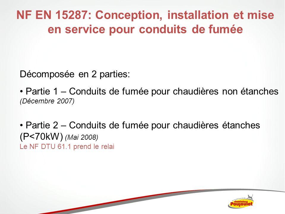 NF EN 15287: Conception, installation et mise en service pour conduits de fumée