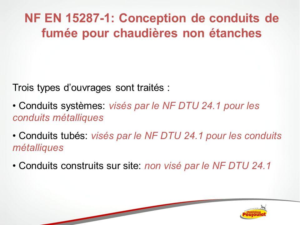 NF EN 15287-1: Conception de conduits de fumée pour chaudières non étanches