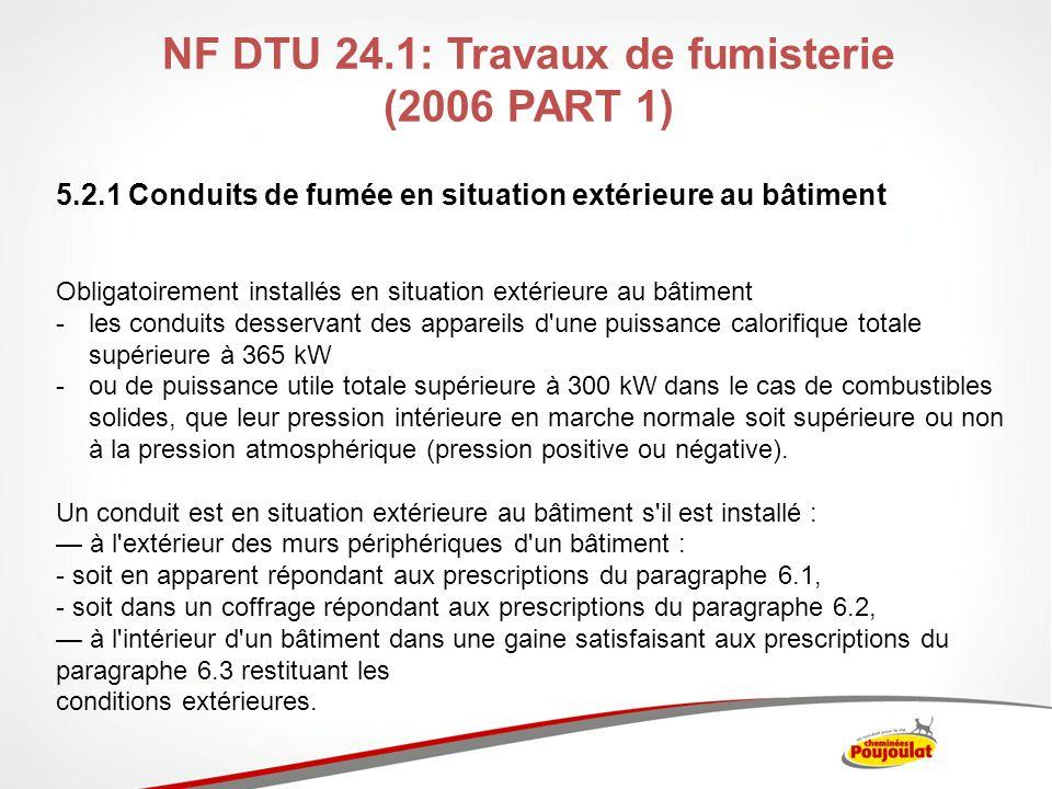 NF DTU 24.1: Travaux de fumisterie (2006 PART 1)