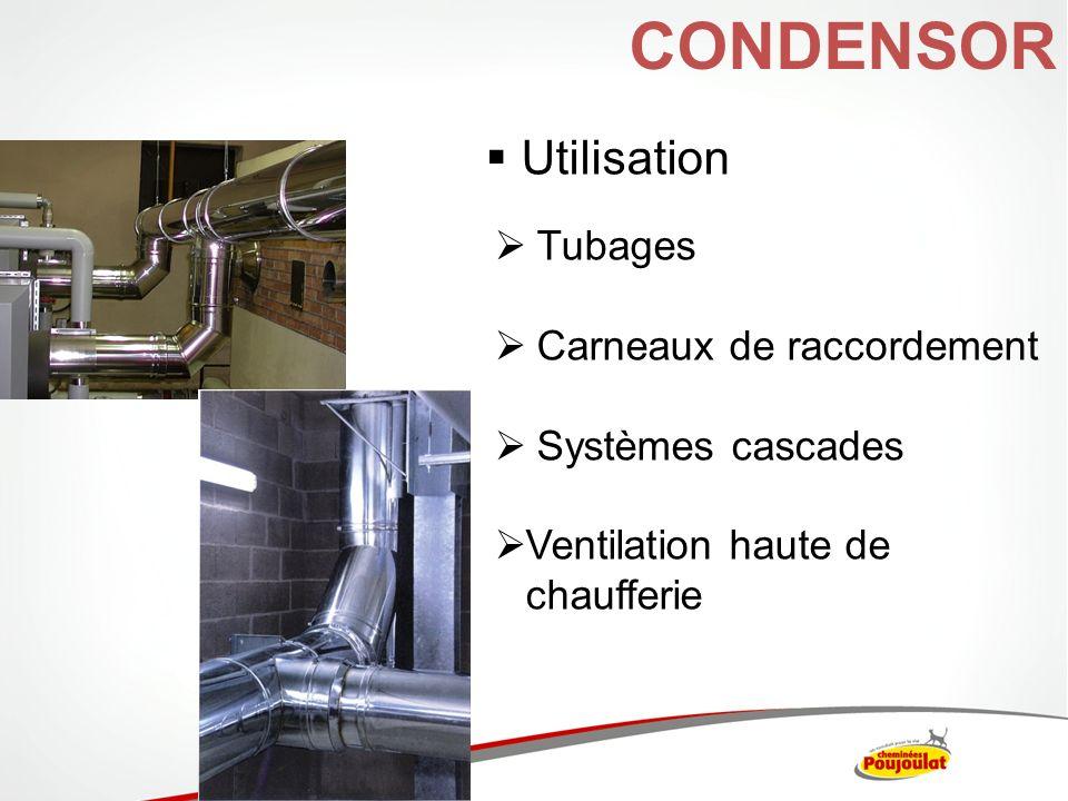 CONDENSOR Utilisation Tubages Carneaux de raccordement