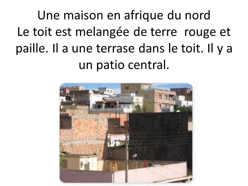 Une maison en afrique du nord Le toit est melangée de terre rouge et paille.