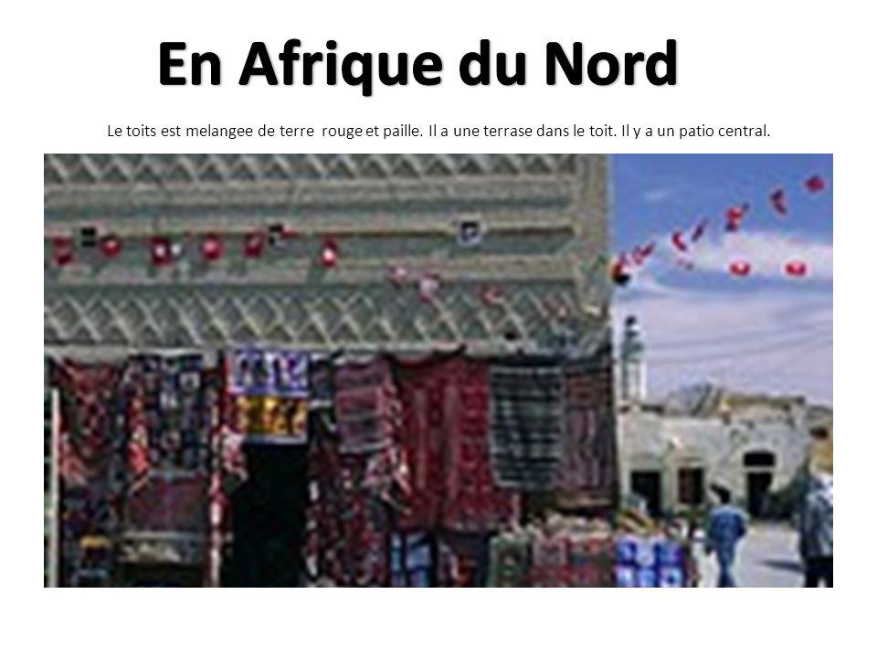 En Afrique du Nord Le toits est melangee de terre rouge et paille.