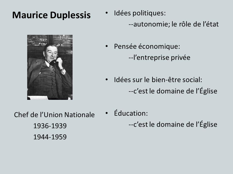 Maurice Duplessis Idées politiques: --autonomie; le rôle de l'état