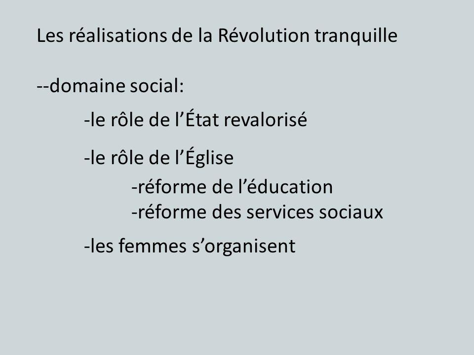 Les réalisations de la Révolution tranquille