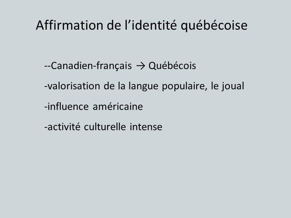 Affirmation de l'identité québécoise