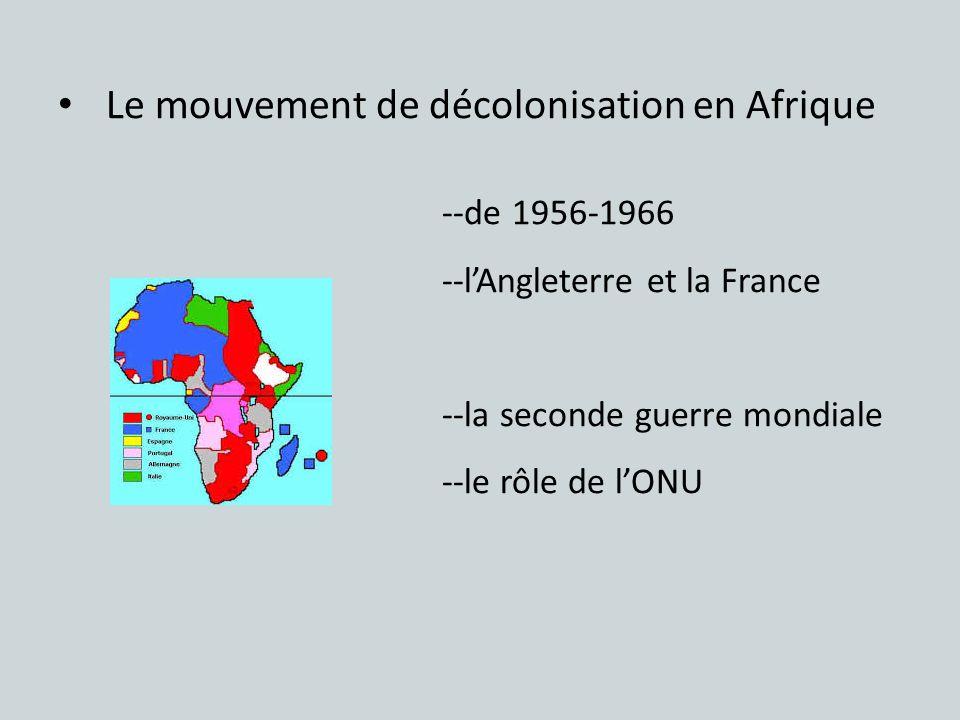 Le mouvement de décolonisation en Afrique