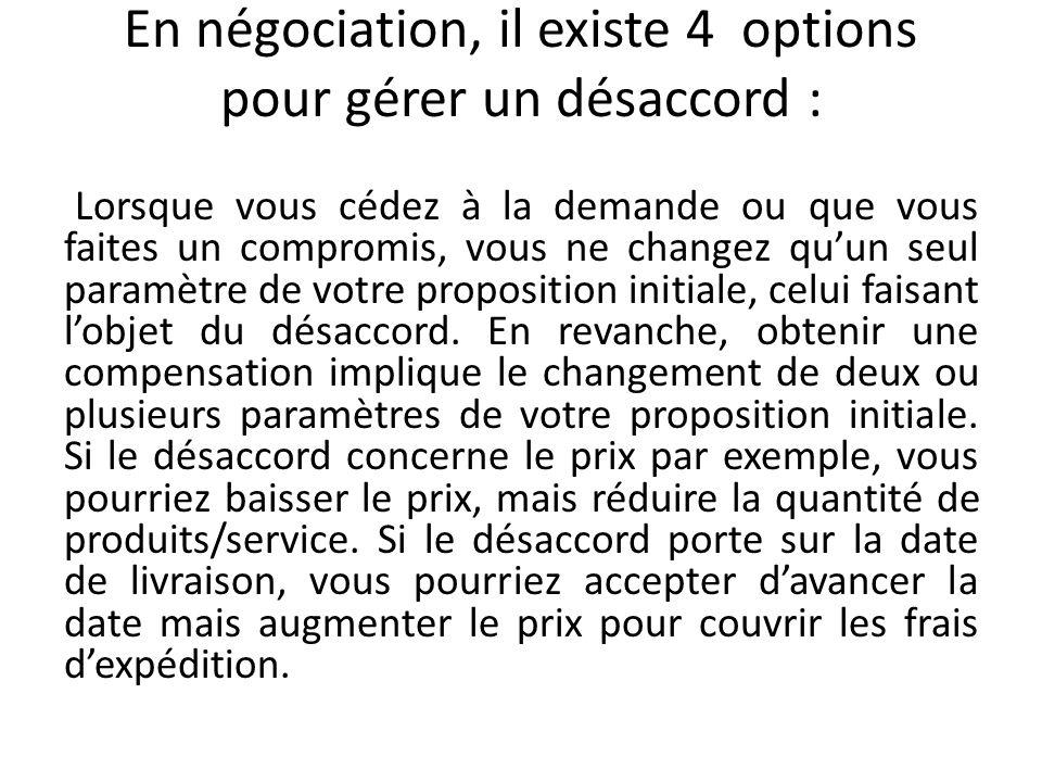 En négociation, il existe 4 options pour gérer un désaccord :