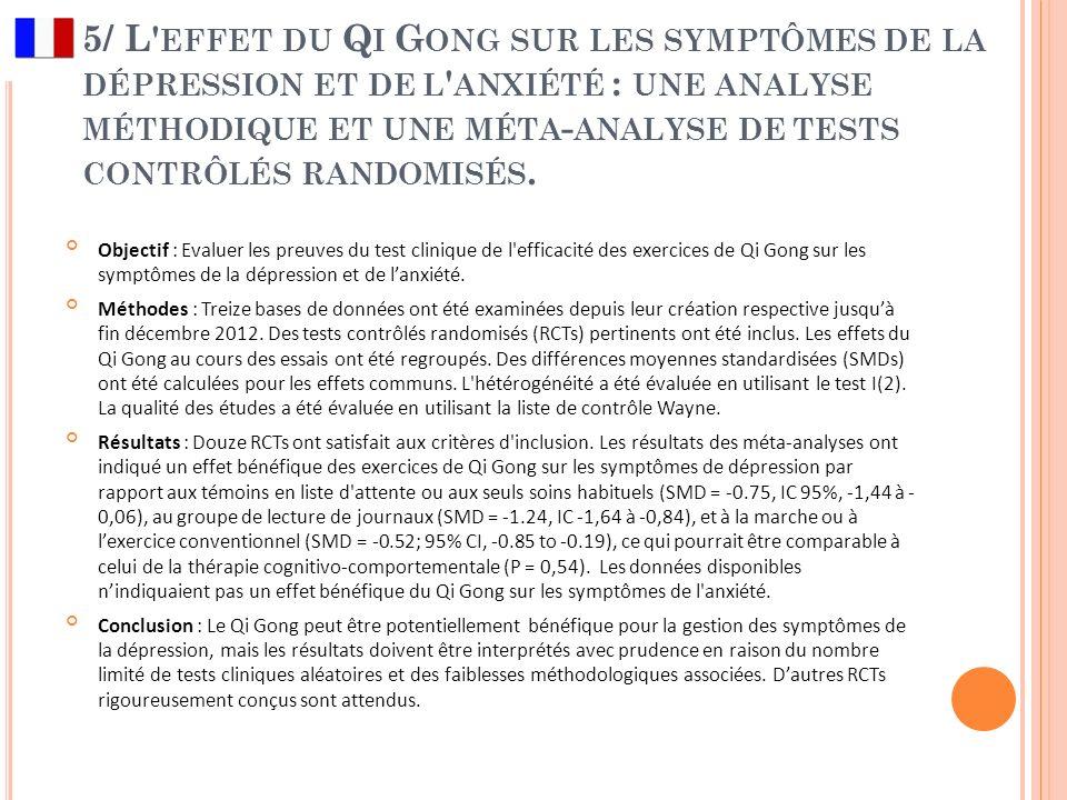 5/ L effet du Qi Gong sur les symptômes de la dépression et de l anxiété : une analyse méthodique et une méta-analyse de tests contrôlés randomisés.