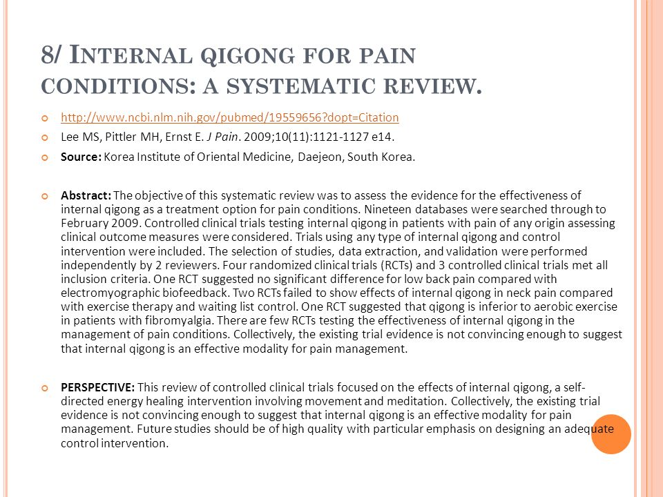 8/ Internal qigong for pain conditions: a systematic review.