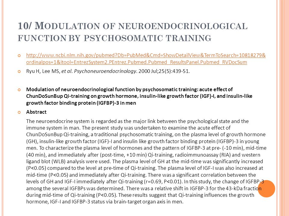 10/ Modulation of neuroendocrinological function by psychosomatic training