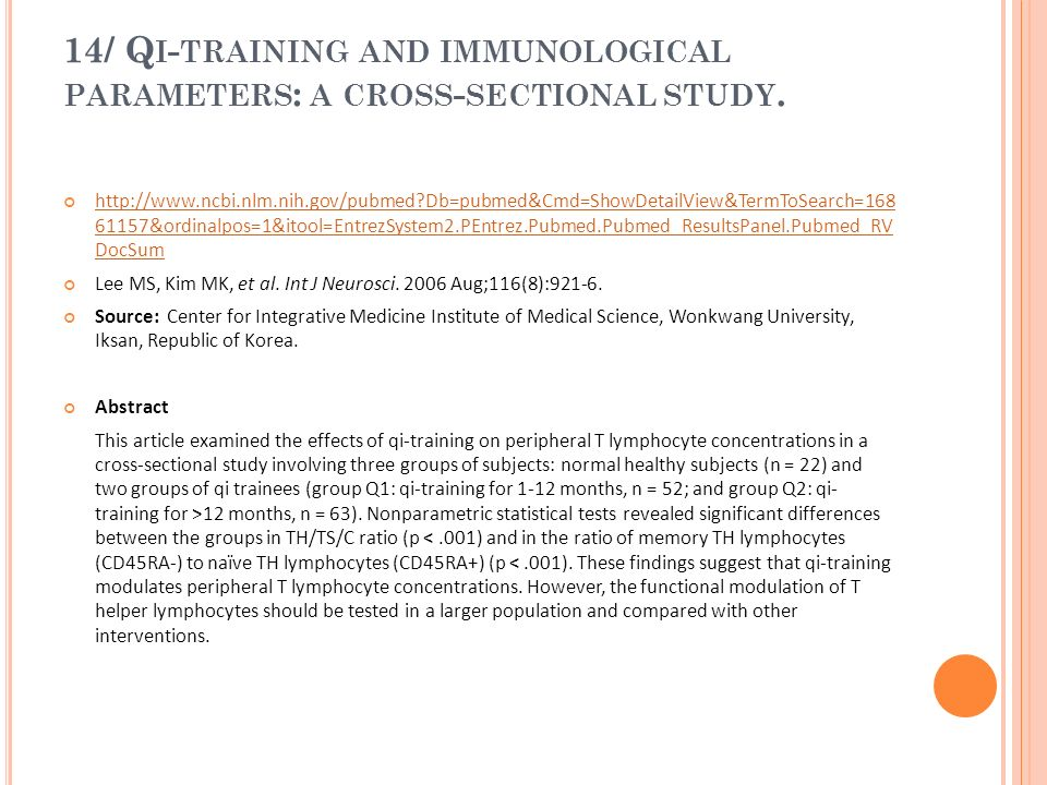 14/ Qi-training and immunological parameters: a cross-sectional study.