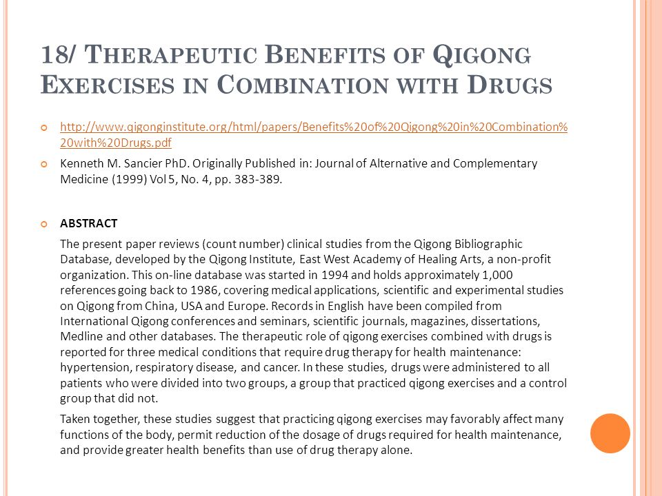 18/ Therapeutic Benefits of Qigong Exercises in Combination with Drugs