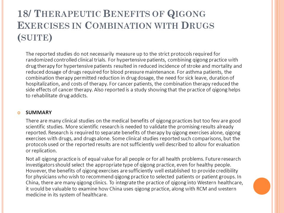 18/ Therapeutic Benefits of Qigong Exercises in Combination with Drugs (suite)