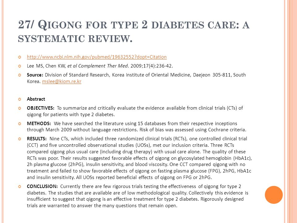 27/ Qigong for type 2 diabetes care: a systematic review.