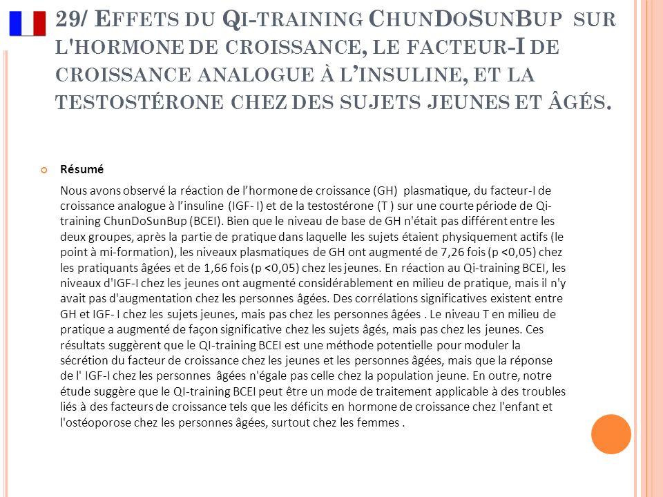 29/ Effets du Qi-training ChunDoSunBup sur l hormone de croissance, le facteur-I de croissance analogue à l'insuline, et la testostérone chez des sujets jeunes et âgés.