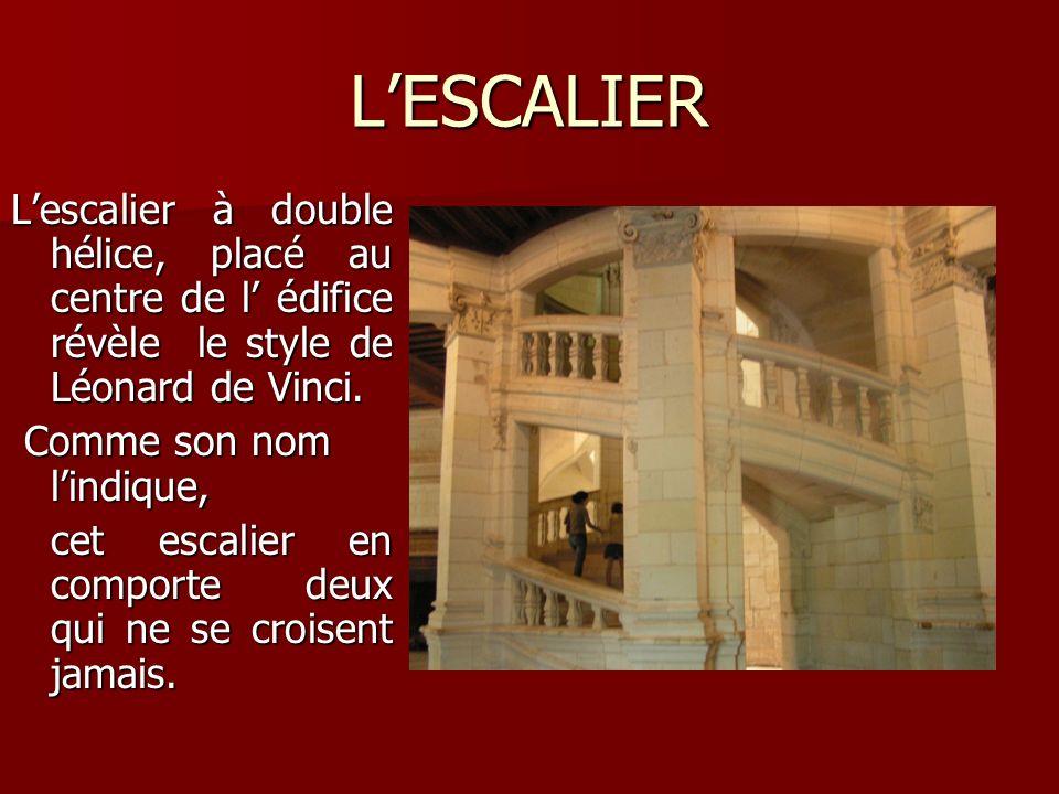 L'ESCALIER L'escalier à double hélice, placé au centre de l' édifice révèle le style de Léonard de Vinci.