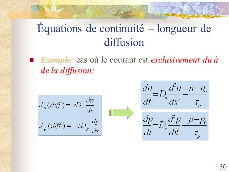 Équations de continuité – longueur de diffusion