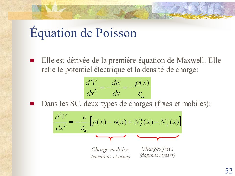 Équation de Poisson Elle est dérivée de la première équation de Maxwell. Elle relie le potentiel électrique et la densité de charge: