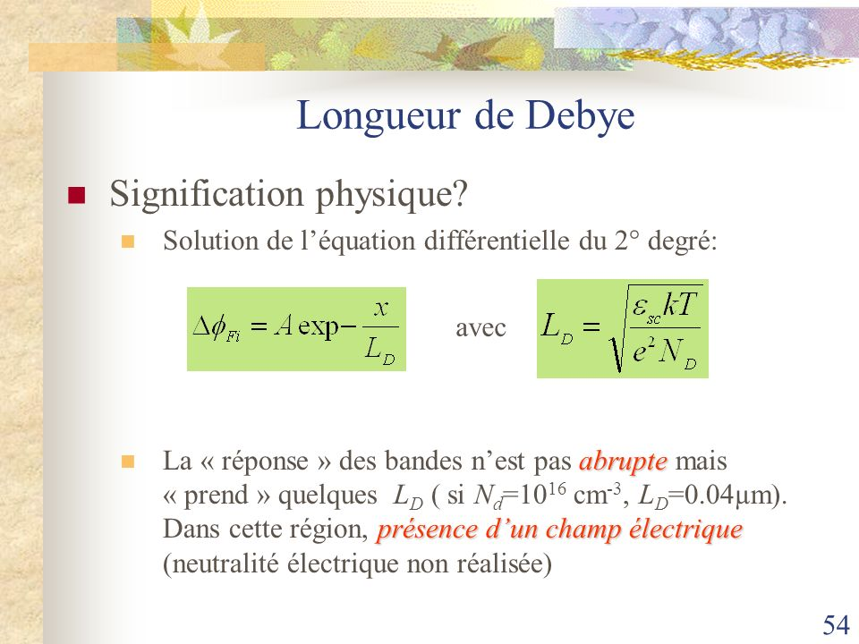 Longueur de Debye Signification physique