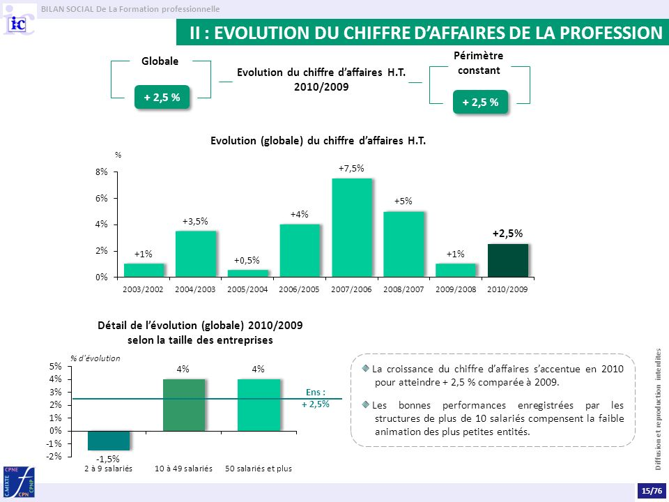 II : EVOLUTION DU CHIFFRE D'AFFAIRES DE LA PROFESSION