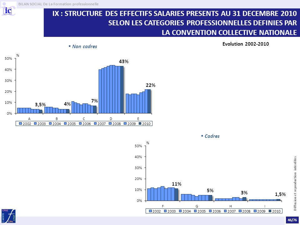 IX : STRUCTURE DES EFFECTIFS SALARIES PRESENTS AU 31 DECEMBRE 2010 SELON LES CATEGORIES PROFESSIONNELLES DEFINIES PAR LA CONVENTION COLLECTIVE NATIONALE