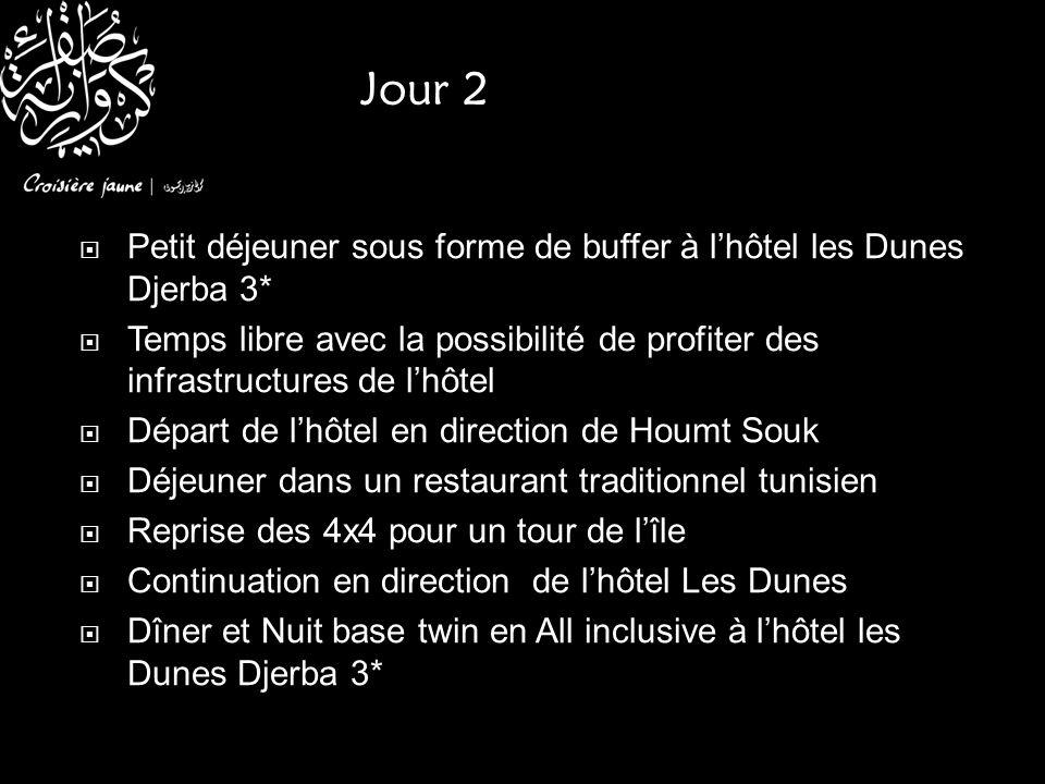 Jour 2 Petit déjeuner sous forme de buffer à l'hôtel les Dunes Djerba 3* Temps libre avec la possibilité de profiter des infrastructures de l'hôtel.