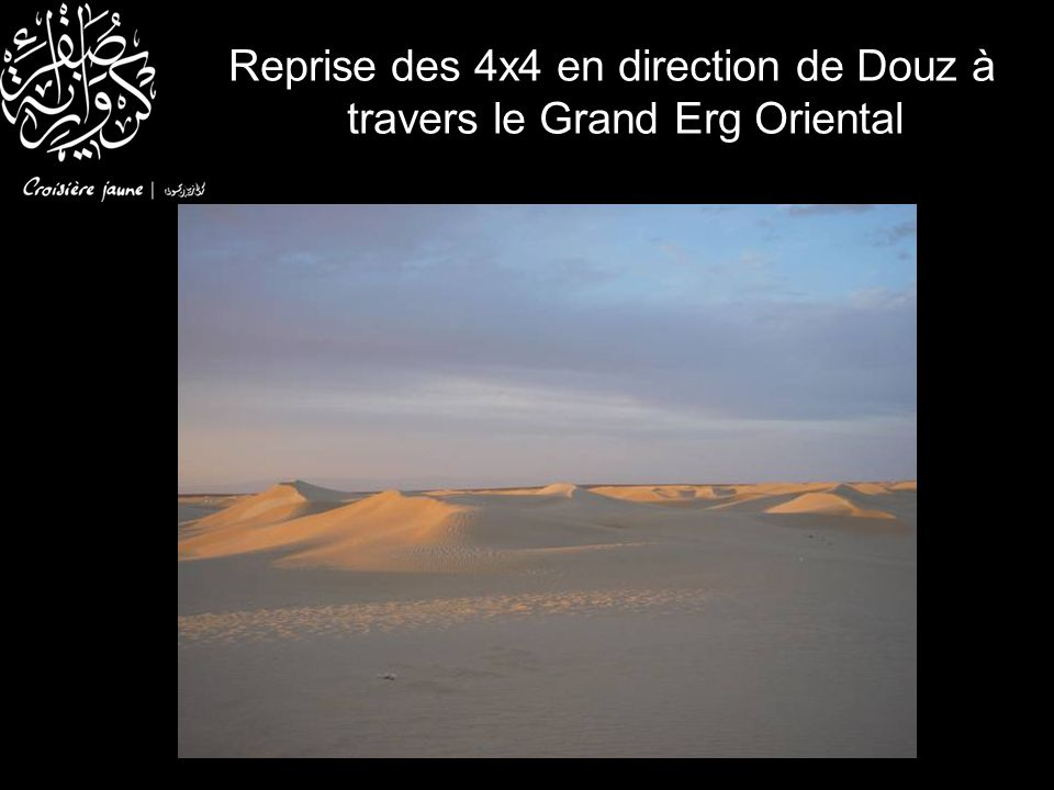 Reprise des 4x4 en direction de Douz à travers le Grand Erg Oriental