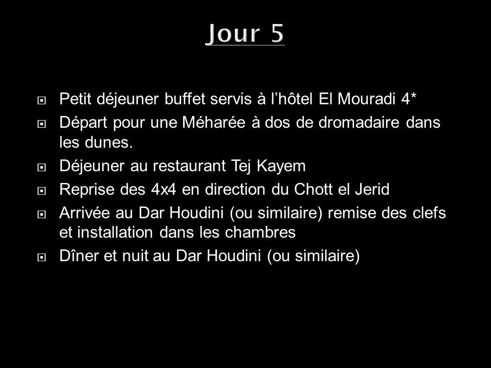 Jour 5 Petit déjeuner buffet servis à l'hôtel El Mouradi 4*