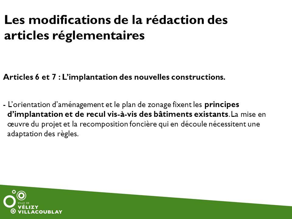 Les modifications de la rédaction des articles réglementaires