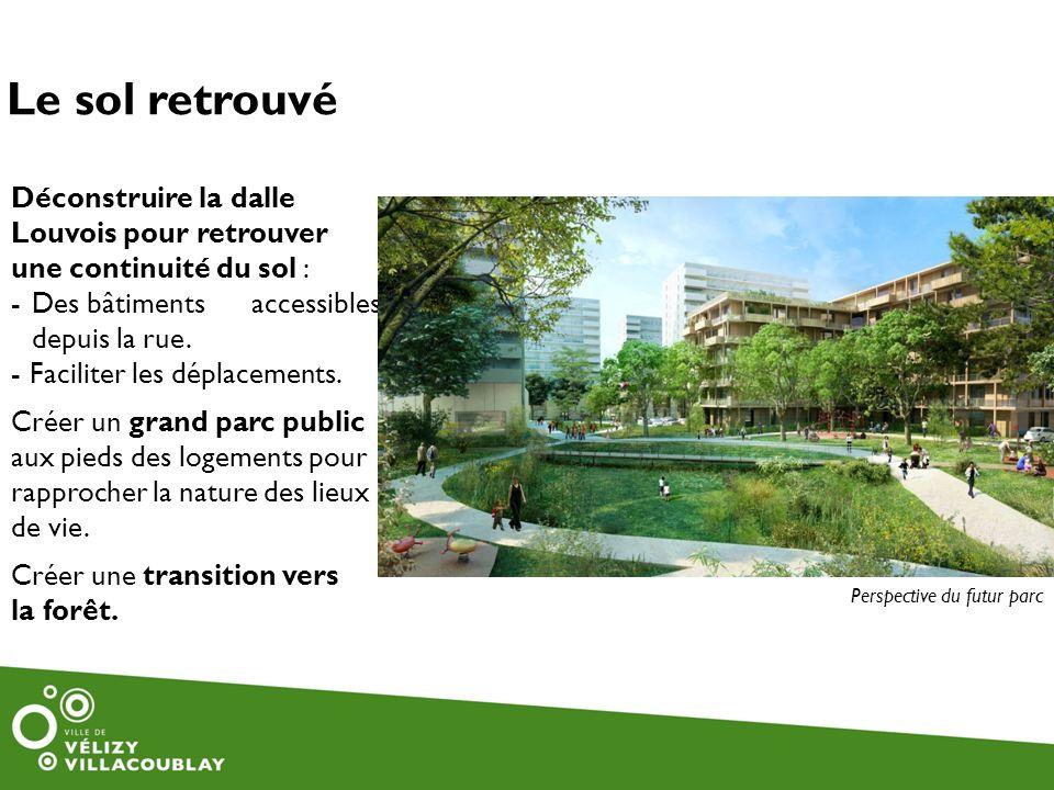 Le sol retrouvé Déconstruire la dalle Louvois pour retrouver une continuité du sol : Des bâtiments accessibles depuis la rue.