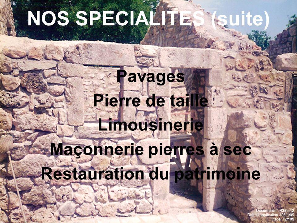 NOS SPECIALITES (suite)