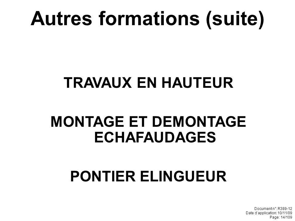 Autres formations (suite) MONTAGE ET DEMONTAGE ECHAFAUDAGES
