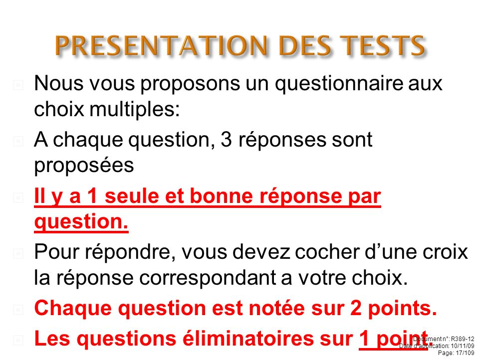 PRESENTATION DES TESTS