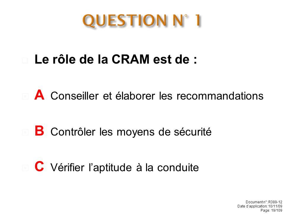 QUESTION N° 1 A Conseiller et élaborer les recommandations