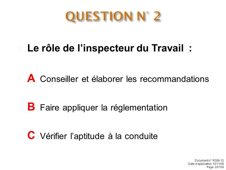QUESTION N° 2 A Conseiller et élaborer les recommandations