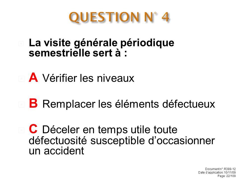 QUESTION N° 4 A Vérifier les niveaux