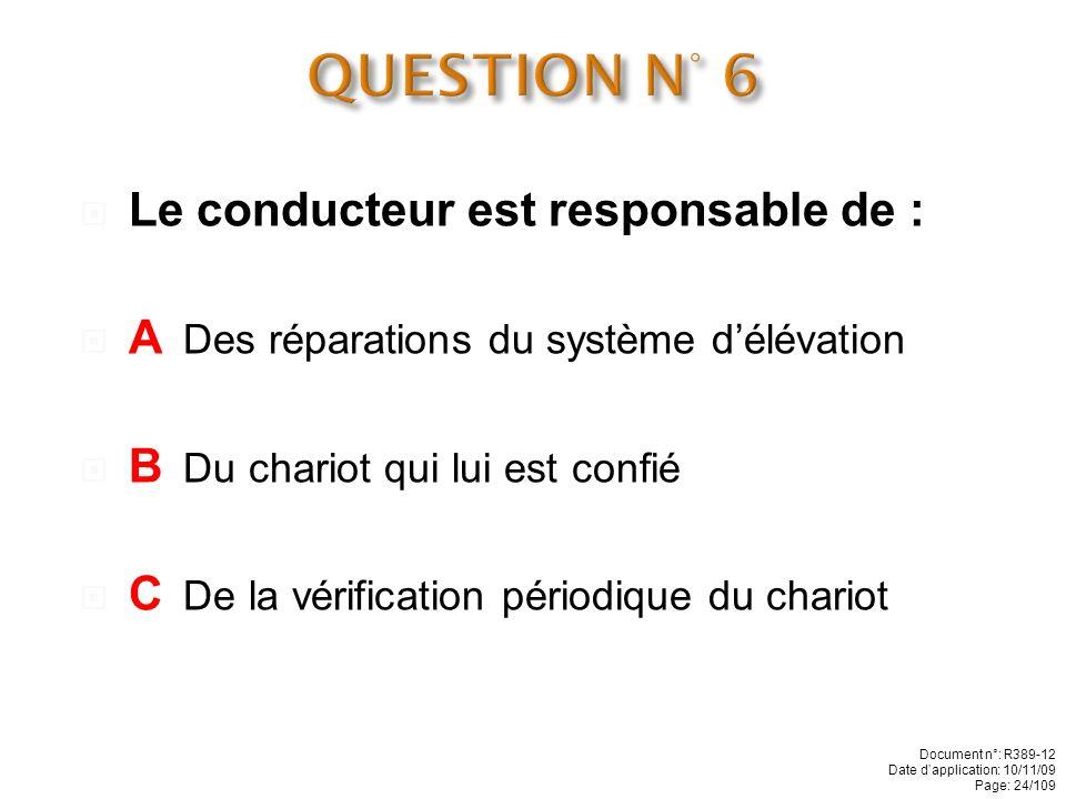 QUESTION N° 6 Le conducteur est responsable de :