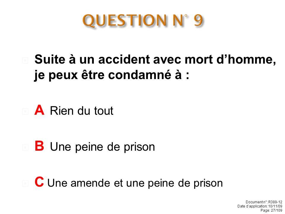 QUESTION N° 9 A Rien du tout B Une peine de prison