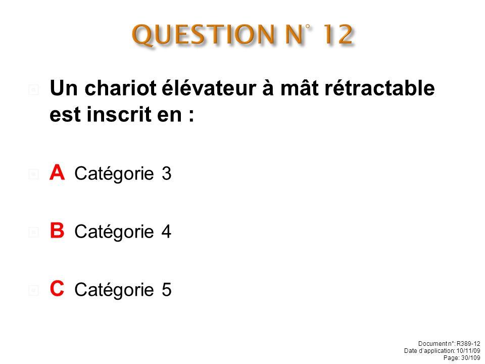 QUESTION N° 12 Un chariot élévateur à mât rétractable est inscrit en :