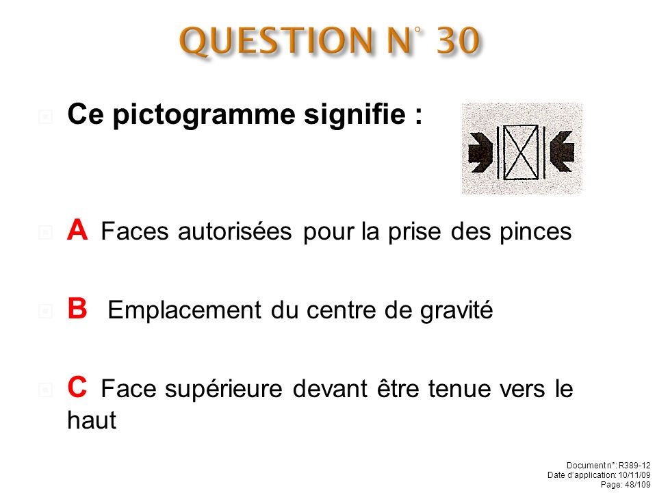 QUESTION N° 30 Ce pictogramme signifie :
