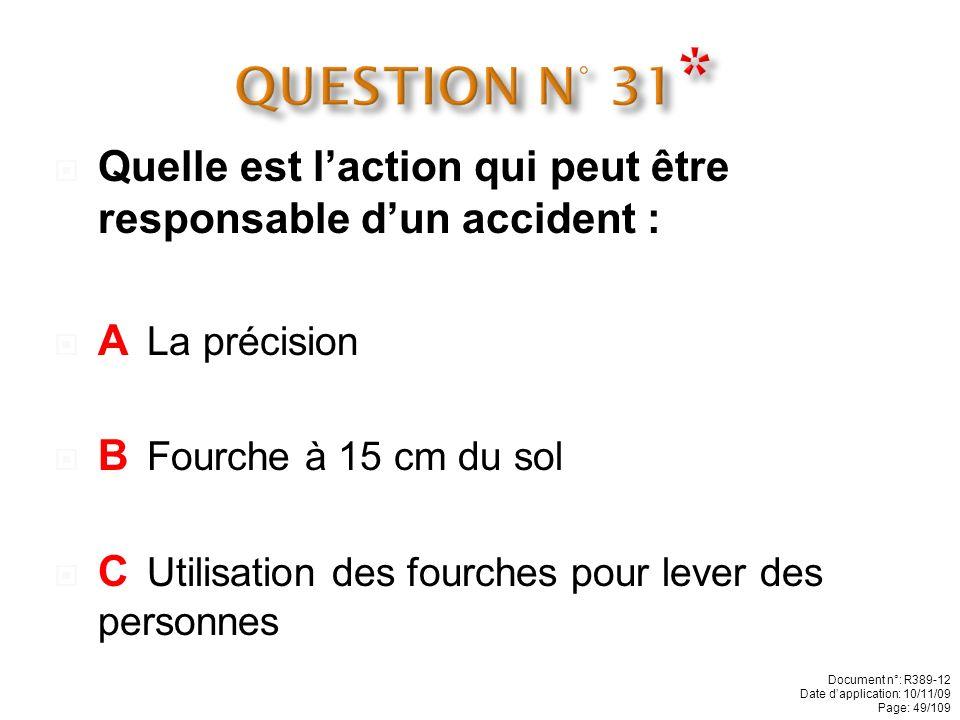 QUESTION N° 31* Quelle est l'action qui peut être responsable d'un accident : A La précision. B Fourche à 15 cm du sol.