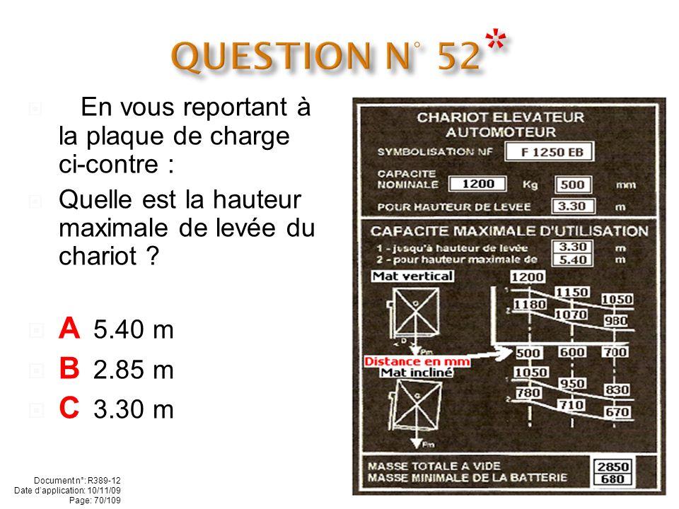 QUESTION N° 52* - En vous reportant à la plaque de charge ci-contre : Quelle est la hauteur maximale de levée du chariot