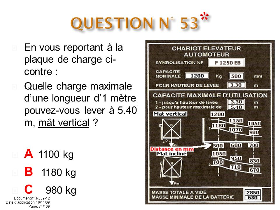 QUESTION N° 53* A 1100 kg B 1180 kg C 980 kg