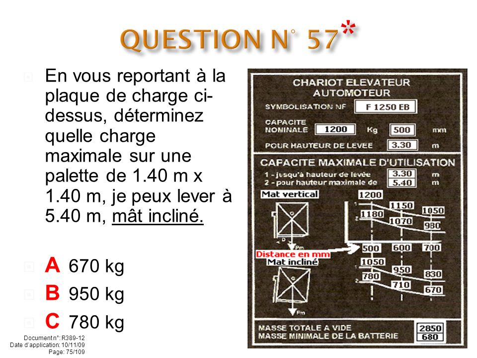QUESTION N° 57* A 670 kg B 950 kg C 780 kg